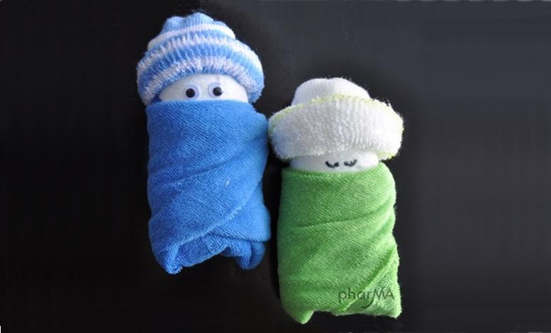 Passo a passo: bebê com toalha
