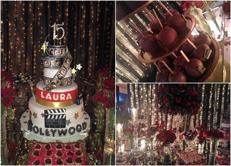 festa em hollywood mesa bolo
