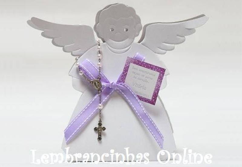 lembrancinha de batismo caixa de anjo com dezena