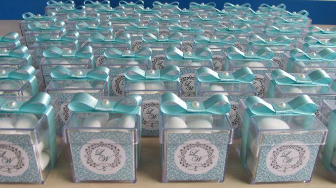 lembrancinha de casamento azul tiffany amendoas